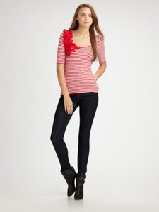 Sinclaire 10 & White Stripes Bow Accented Size Medium Stretchy Top Red