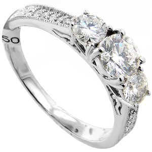 ABC Jewelry 1.06 Ct Three Stone Brilliant Cut Diamond Ring. All 14kt White Gold Ring Set With Three Brilliant Cut Diamonds Expertly