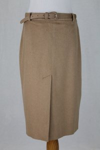Ralph Lauren Collection Baby Camel Hair Camel Hair Belted Slit Union Made Skirt Beige