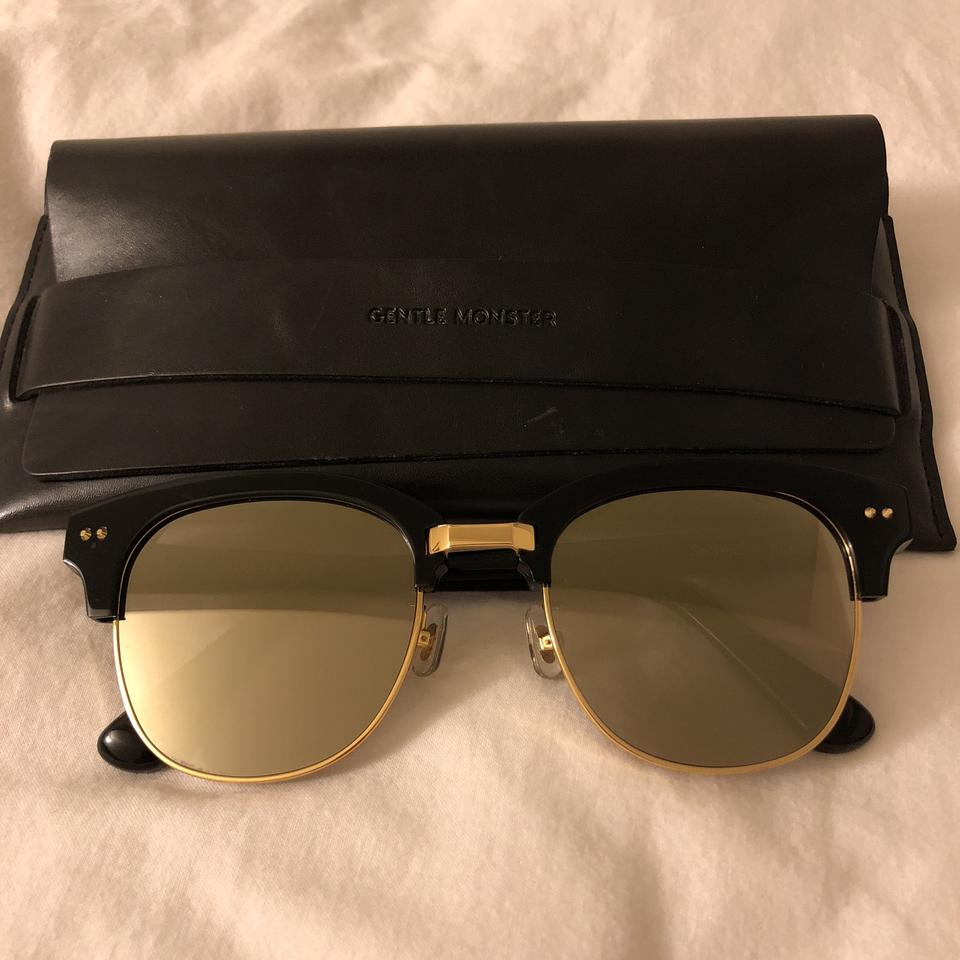 53d5540569 Gentle Monster Black Gold Mirror Second Boss Sunglasses - Tradesy