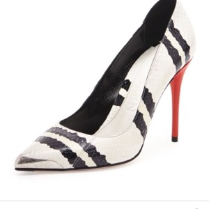 Alexander McQueen Black and White Faux Snakeskin with Red Patent Leather Heel Pumps