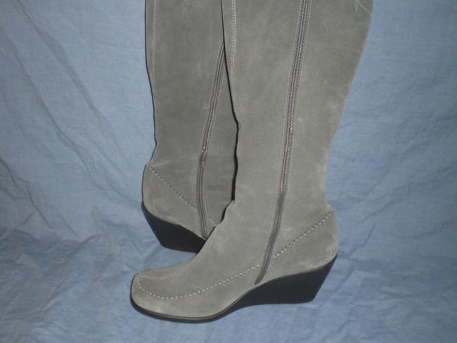 """Item - Kiwi 16"""" Wild Calf with Gusset Gather Round Leather Wedge Boots/Booties Size US 11 Extra Wide (Ww, Ee)"""