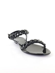 Givenchy Chain Jelly Thong Flat Black Sandals