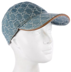 gucci Blue, white multicolor Gucci GG web denim baseball cap