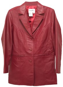 Pamela McCoy Blazer Designer Coat Dress Red Leather Jacket