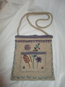 Icelandic Design Embroidered Wool Cross Body Bag