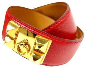 Hermès Rouge Collier de Chien Medor Belt CDC223128