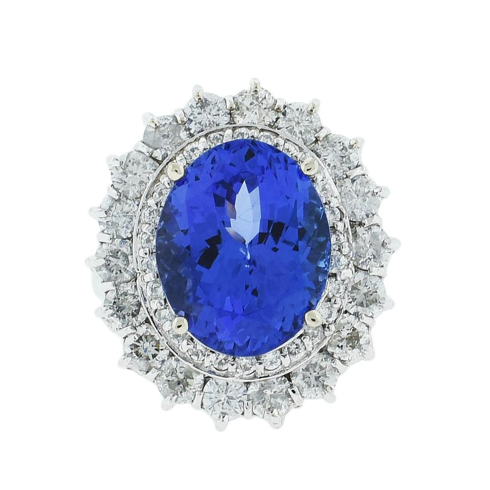 gia tanzanite gold ring diana media white certificated princess
