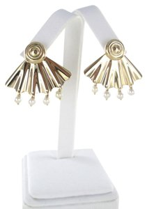 Tiffany & Co. 14KT SOLID YELLOW GOLD EARRINGS TIFFANY & CO VINTAGE FAN PEARL DANGLE FINE JEWEL