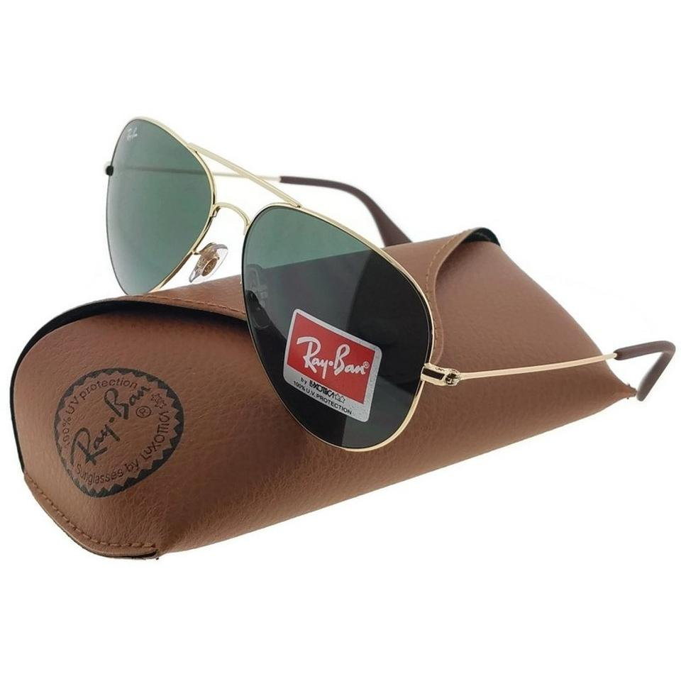 b5b0d1043a Ray-Ban RB3558-001-71 Aviator Unisex Gold Frame Green Lens Sunglasses Image  ...