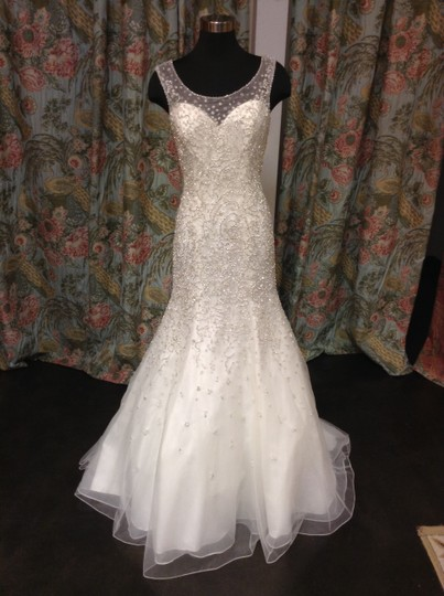 Mori Lee Beaded Tulle 2617 Formal Wedding Dress Size 10 (M)