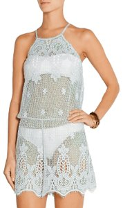 Miguelina Cicely Sky Blue Mint Crochet Cotton Swim Playsuit Romper Jumpsuit S