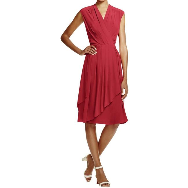 Item - Red Silk Womens Wrap Pleated Mid-length Short Casual Dress Size 12 (L)