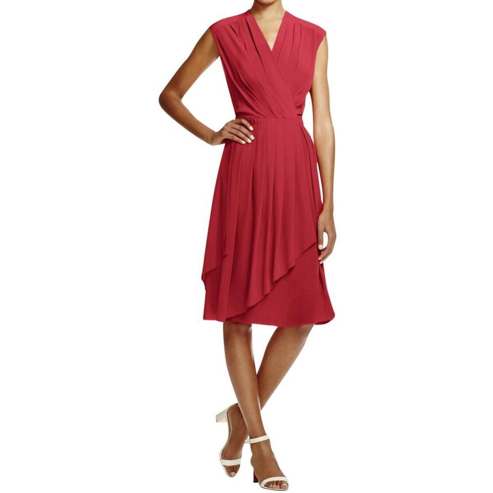02333f825be Tory Burch Red Silk Womens Wrap Pleated Mid-length Short Casual ...