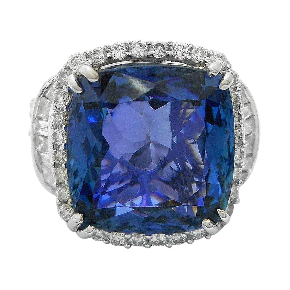 certified tanzanite ring gold dark i gia white diamond and