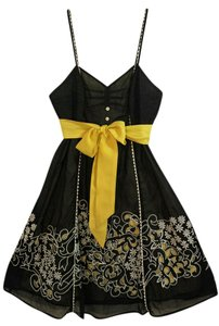 Anthropologie short dress (8) Floreat Sundress Silk Black Yellow Size 8 on Tradesy