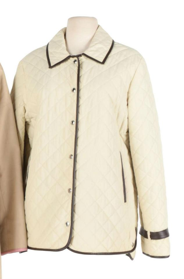 Coach Cream Quilted Jacket With Leather Trim Coat Size 12 L Tradesy