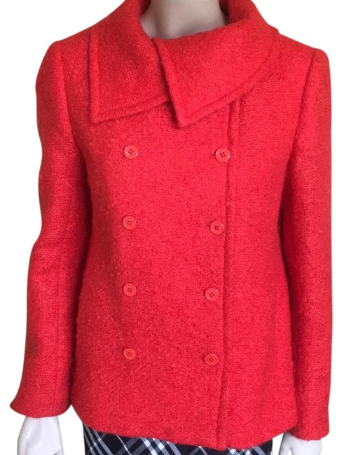 Item - Red Mohair Pea Coat Jacket Size 6 (S)