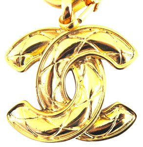Chanel #14876 CC large classic quilted long gold chain necklace