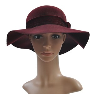 Just Cavalli Just Cavalli Wool Burgundy Bow Decorated Wide Brimmed Hat Size S