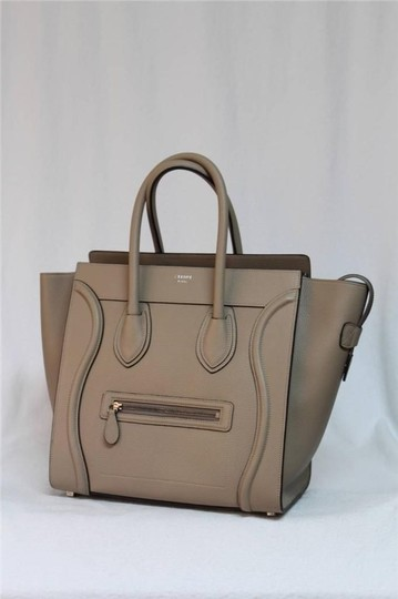 Céline Pebbled Leather Tote in Dune