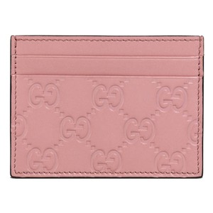 Gucci Gucci Women's Guccissima GG Pink Leather Card Case Wallet 233166