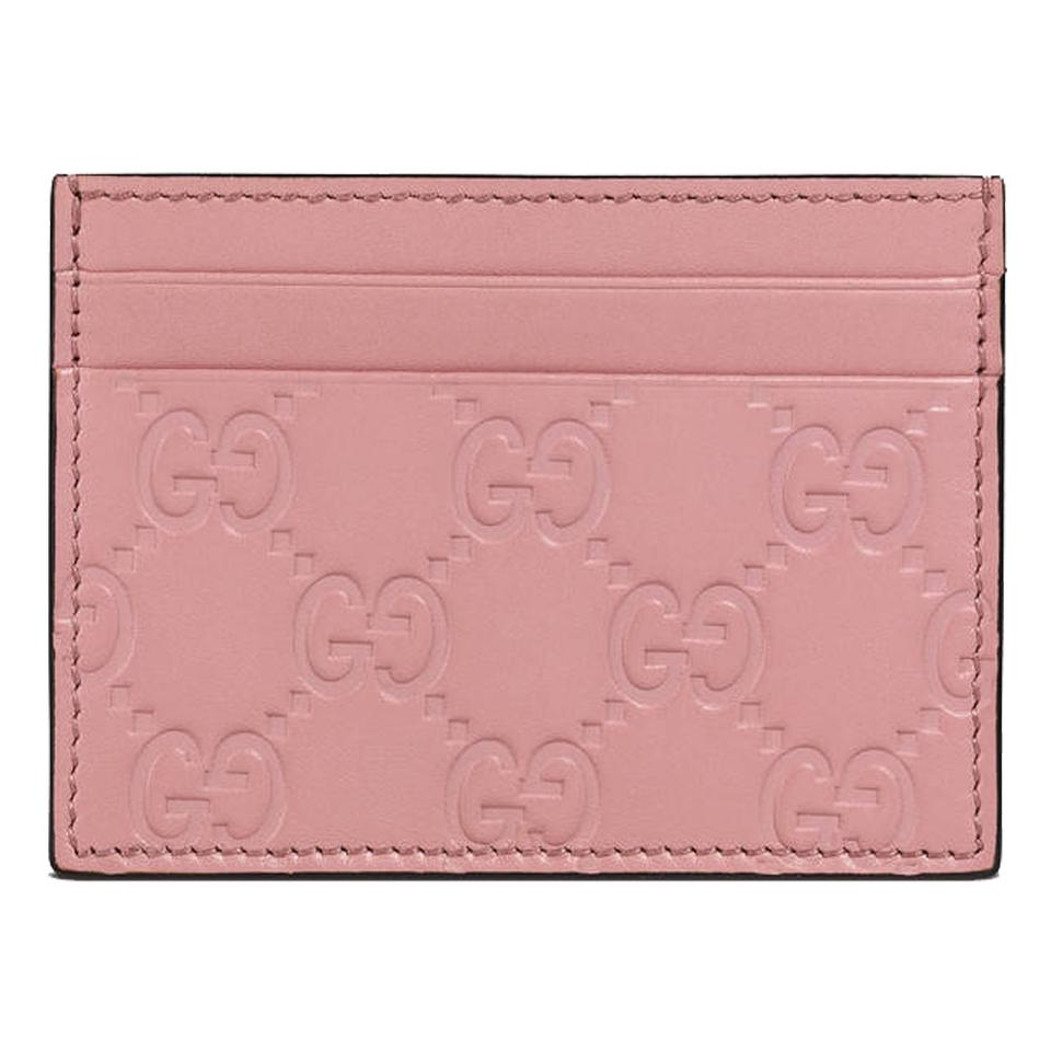 f6cab1622c9a Gucci Gucci Women's Guccissima GG Pink Leather Card Case Wallet 233166  Image 0 ...