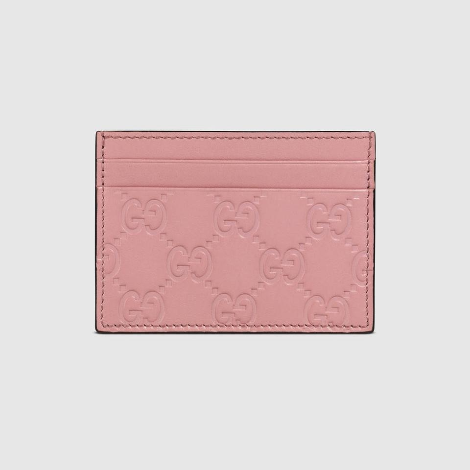 quality design 51925 5a12d Gucci Pink Women's Guccissima Gg Leather Card Case 233166 Wallet 36% off  retail