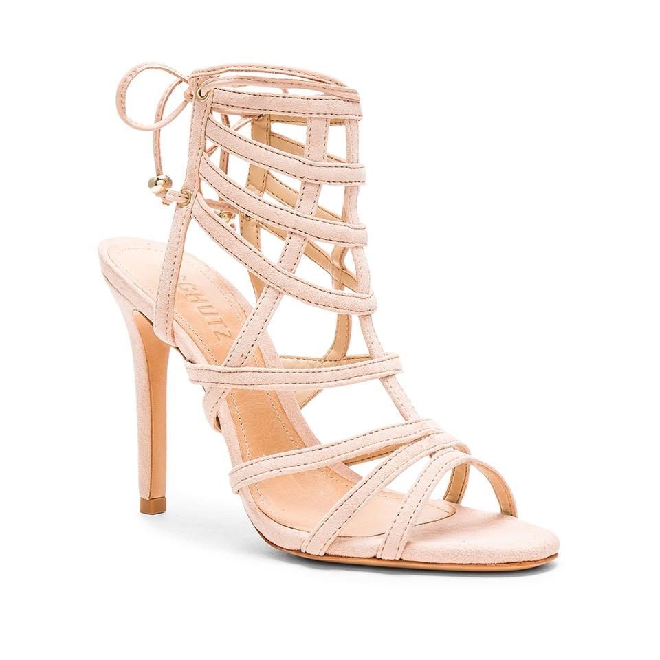 90072844113 SCHUTZ Nude Latonya Beige Suede Cage Strappy Lace Sandals Size US 10 ...