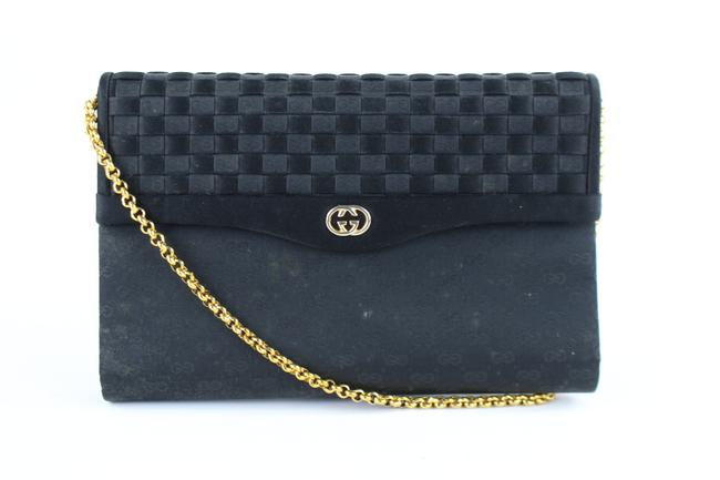 Item - ( Ultra Rare ) Quilted Damier Woven Gg Chain Flap 222296 Black Satin Shoulder Bag