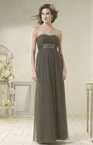 Alfred Angelo Olive Green Soft Net 8616l Formal Bridesmaid/Mob Dress Size 14 (L)