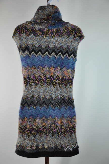 Multi-Colorr Blue Brown Pink Ivory Maxi Dress by Peter Som Knit Size S