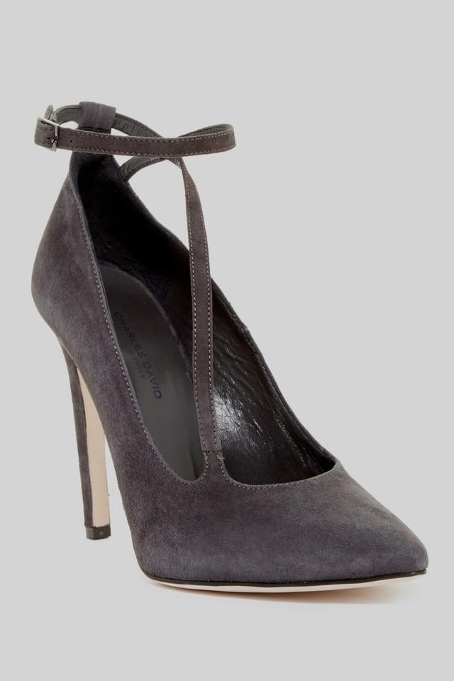 Charles David Charcoal Gray Velvety New Suede Leather Diagonal Strap New Velvety Pumps ce92b0