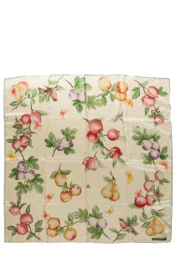 Tiffany & Co. Pale Yellow Placed Rolled Edge Fruit Silk Scarf