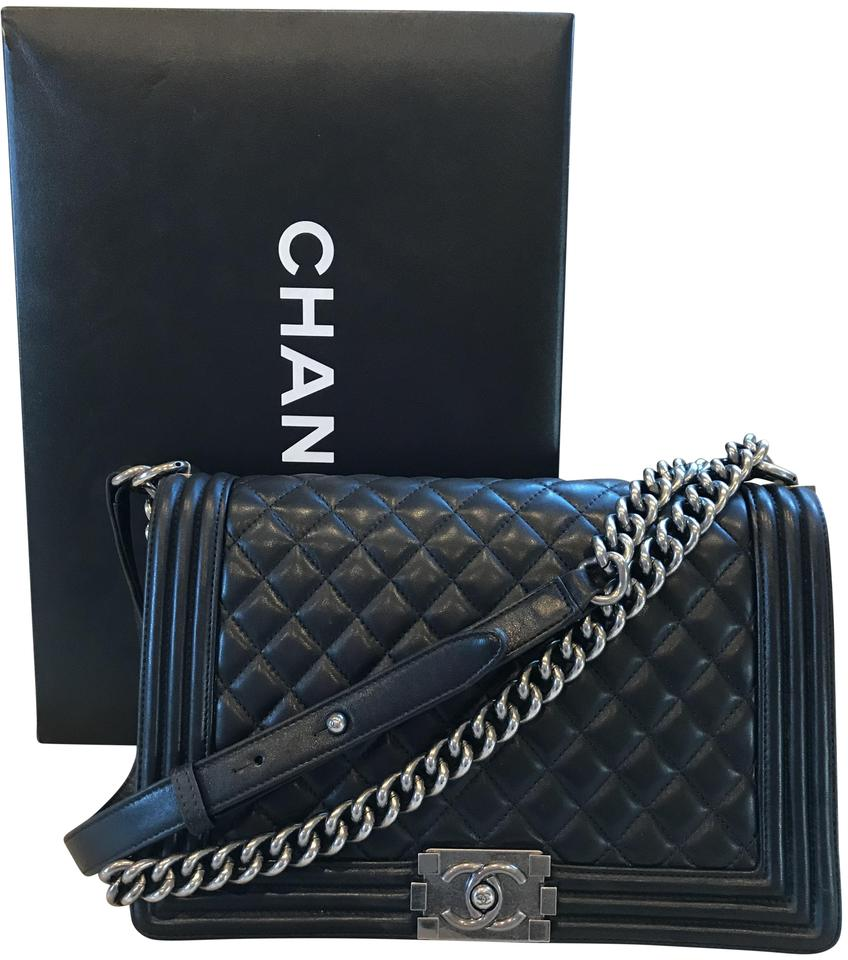 ce3f062fa313fe Chanel Boy Sale Crossbody Quilted Medium Large Black Lambskin ...