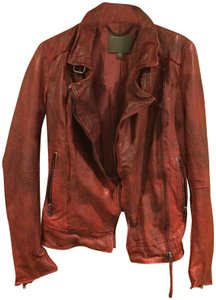 Muubaa Marbled Burnished Slouchy Vintage Cherry Red Jacket