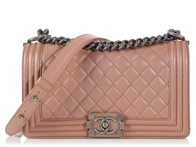 Chanel Boy Old Medium Iridescent Ruthenium Hardware Nude Light Pink Calfskin Leather Cross Body Bag Chanel Boy Old Medium Iridescent Ruthenium Hardware Nude Light Pink Calfskin Leather Cross Body Bag Image 1