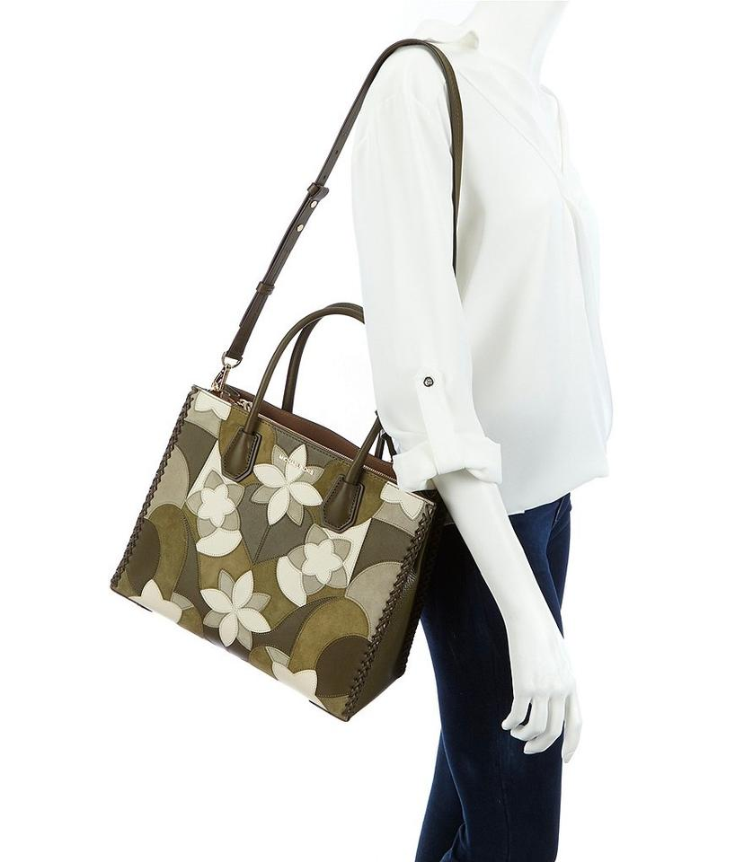 4e11bd87486ba Michael Kors Convertible Patchwork Tassled Suede Mercer Tote in Olive Green  Image 4. 12345