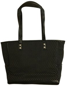 Inside Large Zipper Tote in black, graffiti dot