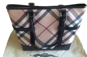 Burberry Novacheck Gently Used Satchel in Black Patent