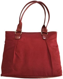 shiseido Faux Patent Leather Cosmetic Tote in Red