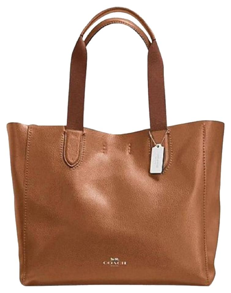 e88a481d4665 Coach Derby New Large Silver Hardware Tote in Saddle Brown Image 0 ...