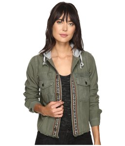 Free People Longsleeve Hooded Cotton Button Military Jacket