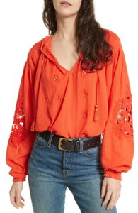 Free People Hooded Cotton Longsleeve Embroidered Tie Top red