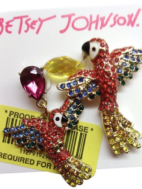 Item - Red and Gold Flying Parrot Earrings