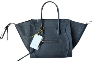 Céline Phantom Travel Shoppers Tote in Navy Blue