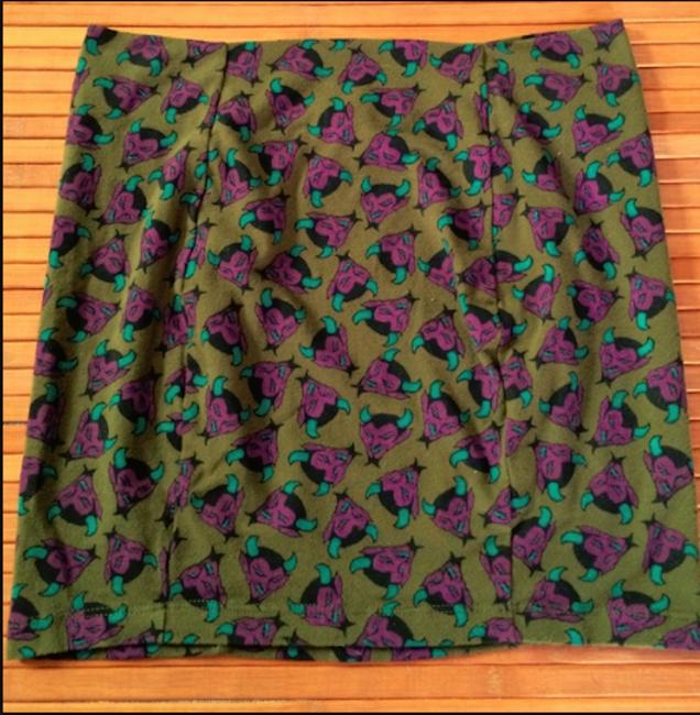 Item - Green Devil Print Skirt Size 12 (L, 32, 33)