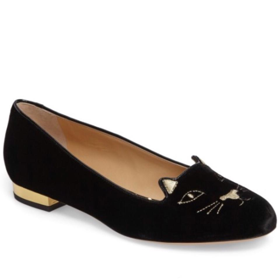 womens Charlotte Olympia value Black Kitty Flats Excellent value Olympia d16850