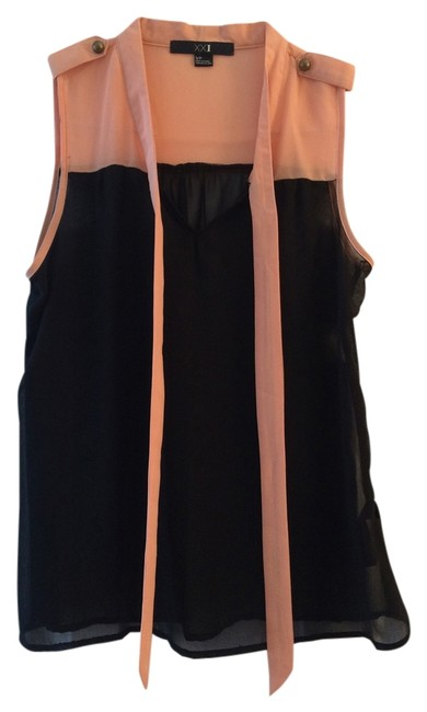 Preload https://item1.tradesy.com/images/forever-21-peach-pink-and-black-sheer-color-blocking-blouse-size-2-xs-2233185-0-0.jpg?width=400&height=650