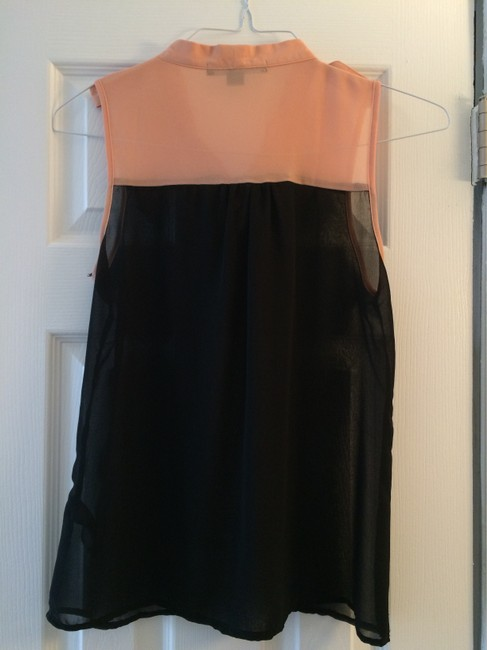 Forever 21 Sheer Color-blocking Top Peach Pink & Black